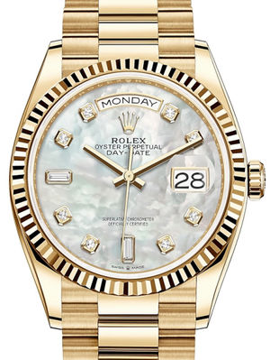 128238 White mother-of-pearl set with diamonds Rolex Day-Date 36