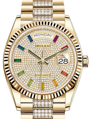 128238 Diamond-paved 10 baguette rainbow sapphires Rolex Day-Date 36