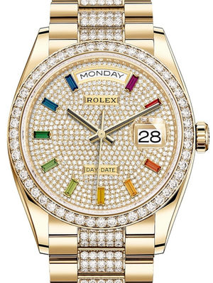 128348RBR Diamond-paved rainbow sapphires Rolex Day-Date 36