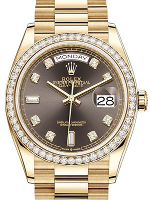 128348RBR Dark grey set with diamonds Rolex Day-Date 36