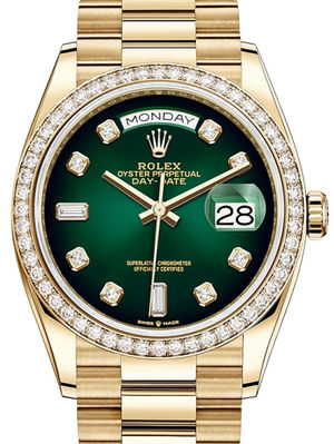 128348RBR Green ombre set with diamonds Rolex Day-Date 36