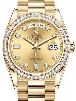 128348RBR Champagne-colour set with diamonds Rolex Day-Date 36