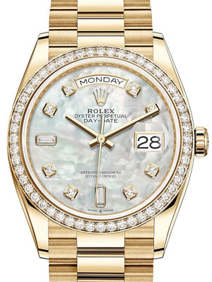 128348RBR White mother-of-pearl set with diamonds Rolex Day-Date 36