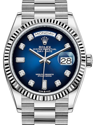 128239 Blue ombre set with diamonds Rolex Day-Date 36