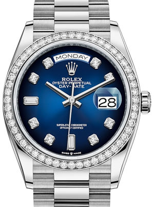 128349RBR Blue ombre set with diamonds Rolex Day-Date 36