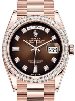 128345RBR Brown ombre set with diamonds Rolex Day-Date 36