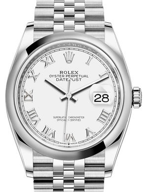 126200 White Roman Rolex Datejust 36