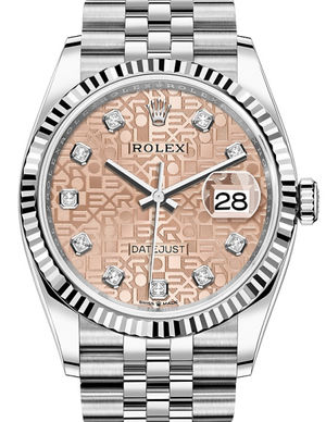 Rolex Datejust 36 126234 Pink Jubilee design set with diamonds