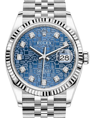 Rolex Datejust 36 126234 Blue jubilee design set with diamonds