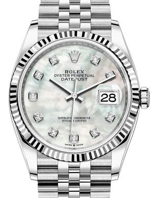 Rolex Datejust 36 126234 White mother-of-pearl set with diamonds