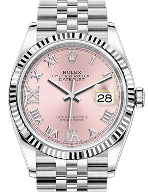 126234 Pink set with diamonds Roman VI and IX Rolex Datejust 36