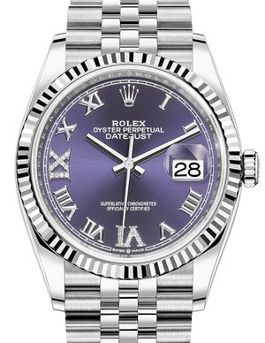Rolex Datejust 36 126234 Aubergine set with diamonds Roman VI and IX