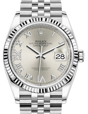 126234 Silver set with diamonds Roman VI and IX Rolex Datejust 36