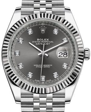 126334 Dark rhodium set with diamonds Rolex Datejust 41