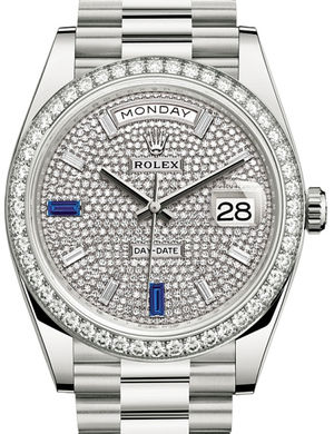 Rolex Day-Date 40 228349RBR Paved with diamonds and sapphires