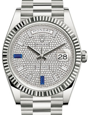 Rolex Day-Date 40 228239 Paved with diamonds and sapphires
