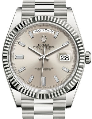 Rolex Day-Date 40 228239 Silver set with diamonds