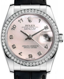 Часы Rolex Datejust 36 White Gold - Diamond Bezel - Leather
