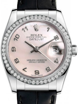 Rolex Datejust 36 116189 pink mother of pearl arabic dial USED