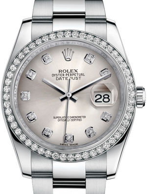 116244 Silver set with diamonds Oyster Bracelet Rolex Datejust 36