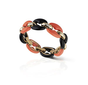 Rose gold with diamonds, red coral and onyx Verdi Gioielli Rock-n-Roll