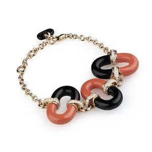 rose gold bracelet with diamonds, red coral, onyx Verdi Gioielli Rock-n-Roll