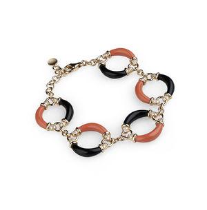 rose gold bracelet, diamonds, red coral, onyx Verdi Gioielli Rock-n-Roll