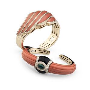 rose gold bangles diamonds, coral, emeralds Verdi Gioielli Rock-n-Roll
