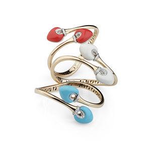 rose gold diamonds, coral, turquoise, white agate Verdi Gioielli Rock-n-Roll