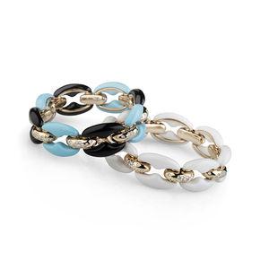 Rose gold bracelet with diamonds and white agate Verdi Gioielli Rock-n-Roll