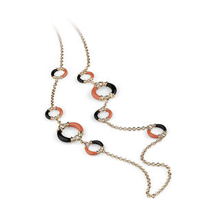 rose gold necklace diamonds, red coral, onyx Verdi Gioielli Rock-n-Roll