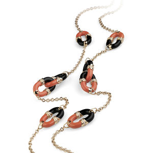 rose gold necklace with diamonds, coral, onyx Verdi Gioielli Rock-n-Roll