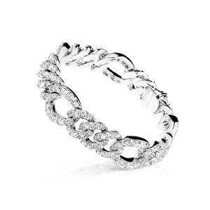 "White gold ""gourmette"" bracelet with diamonds Verdi Gioielli Opera"