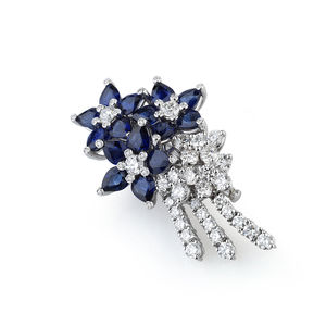 White gold brooch with diamonds and blue sapphires Verdi Gioielli Soul