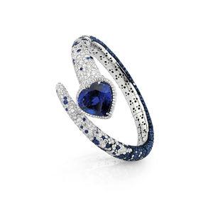 White gold bangle diamonds, sapphires, tanzanite Verdi Gioielli Blues