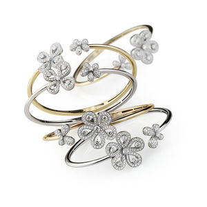 White and rose gold flower bangles with diamonds Verdi Gioielli Pop