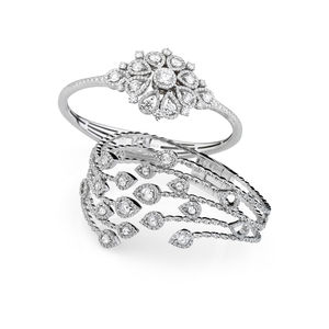 White gold bangles with diamonds Verdi Gioielli Swing
