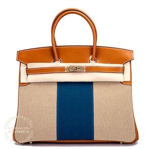 Birkin 35 Flag Barenia/ Toile H Hermès Bag