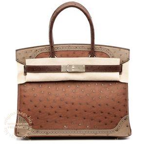Birkin 30 Ghillies Etrusque/ Mousse/ Marron Fonce Hermès Bag